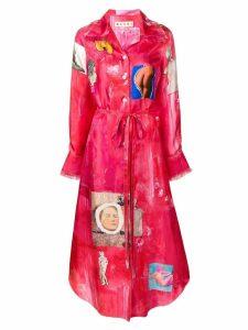 Marni artistic patch shirt dress - Pink