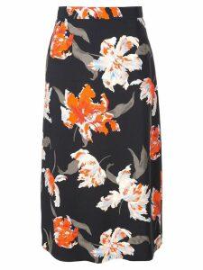 Rochas floral print midi skirt - Black