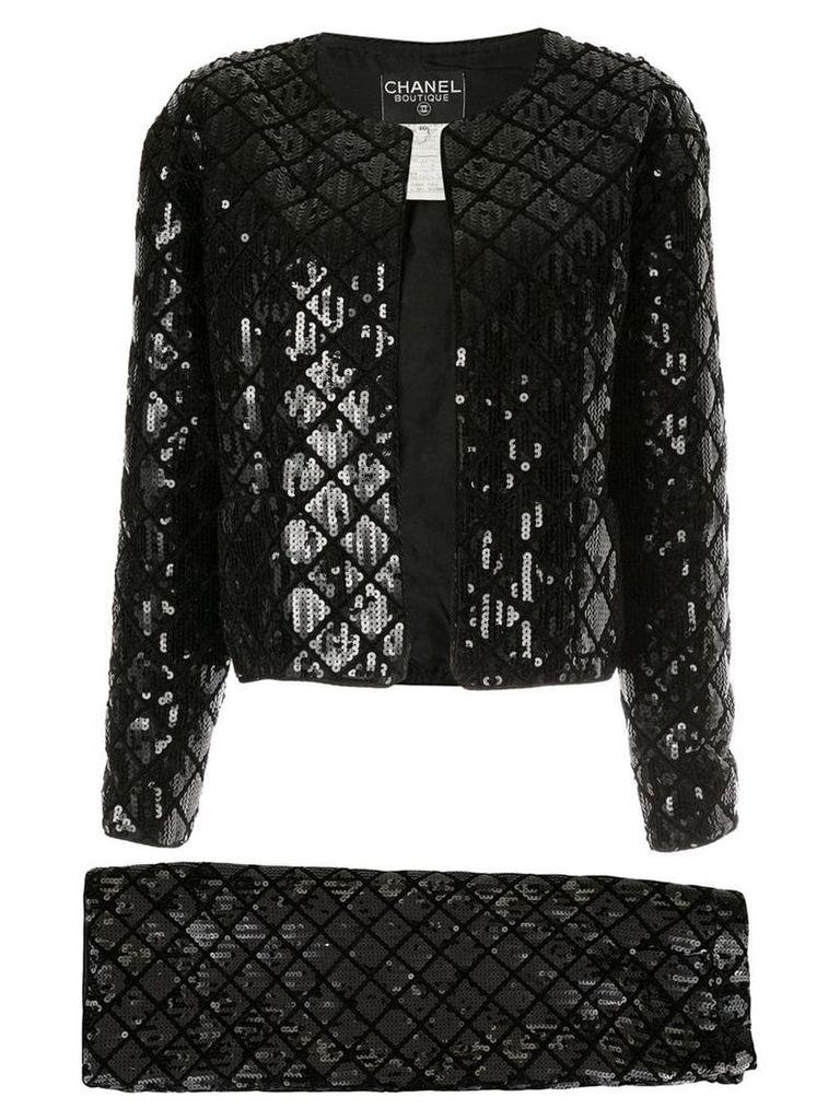 Chanel Vintage CC setup suit jacket skirt - Black