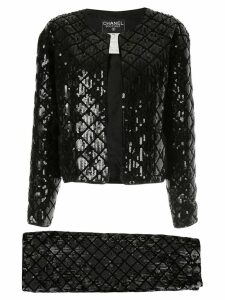 CHANEL PRE-OWNED CC setup suit jacket skirt - Black