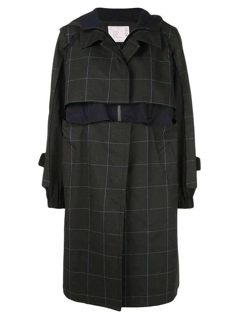 Sacai multilayered contrasting single breasted coat - Blue