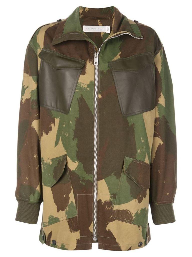 Victoria Beckham camouflage print coat - Green