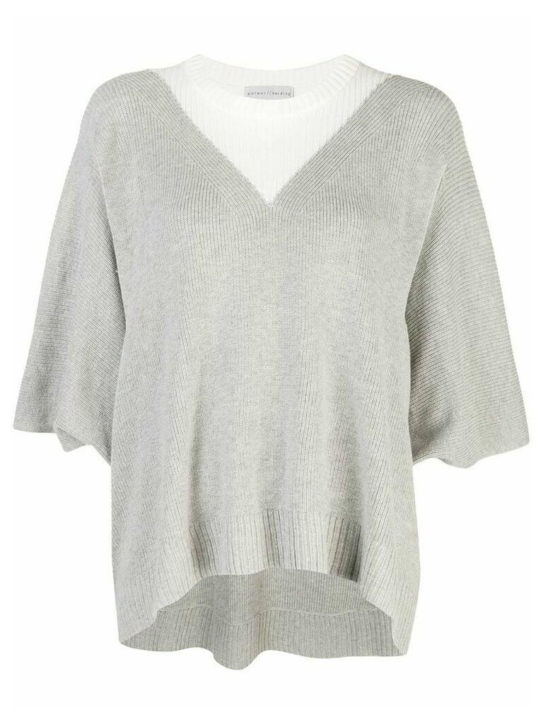 Palmer / Harding colour block slouchy jumper - Grey