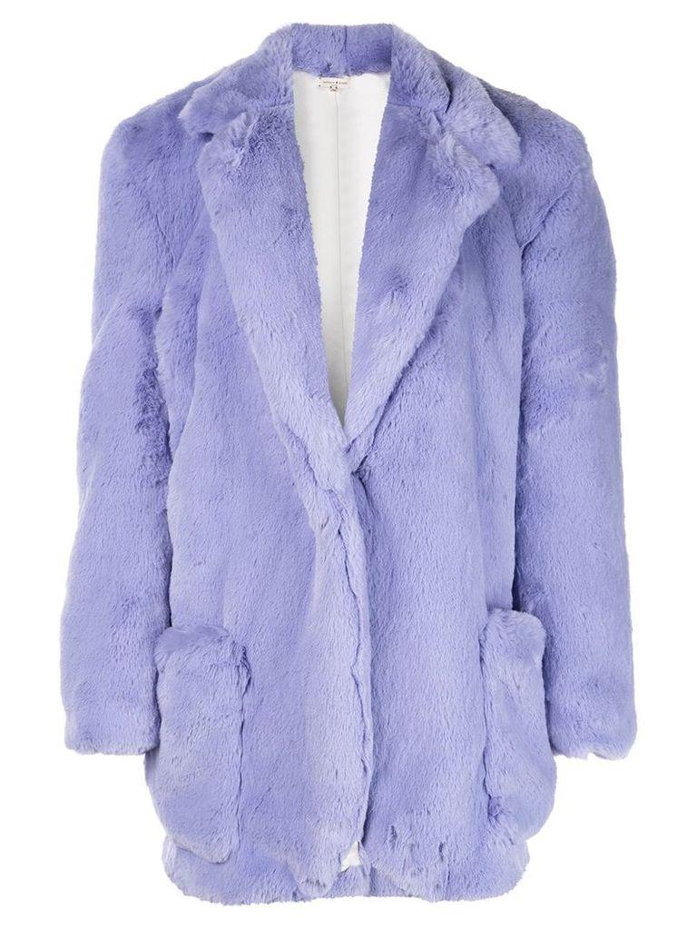 Natasha Zinko classic faux-fur coat - Purple