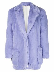 Natasha Zinko classic faux-fur coat - Purple