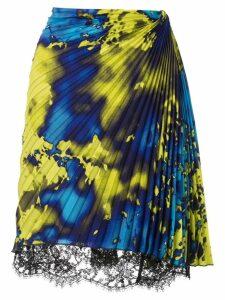 MSGM pleated lace hem mini skirt - Blue