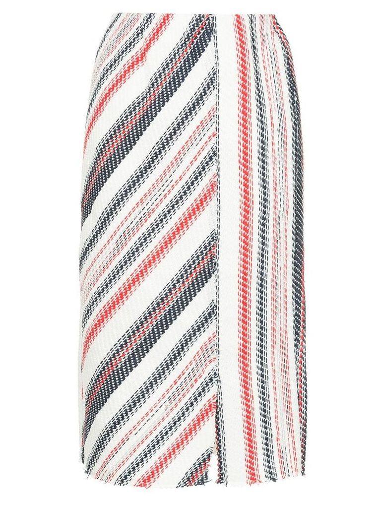 Coohem striped tweed pencil skirt - White