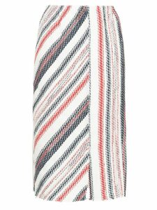 COOHEM striped tweed pencil skirt - White