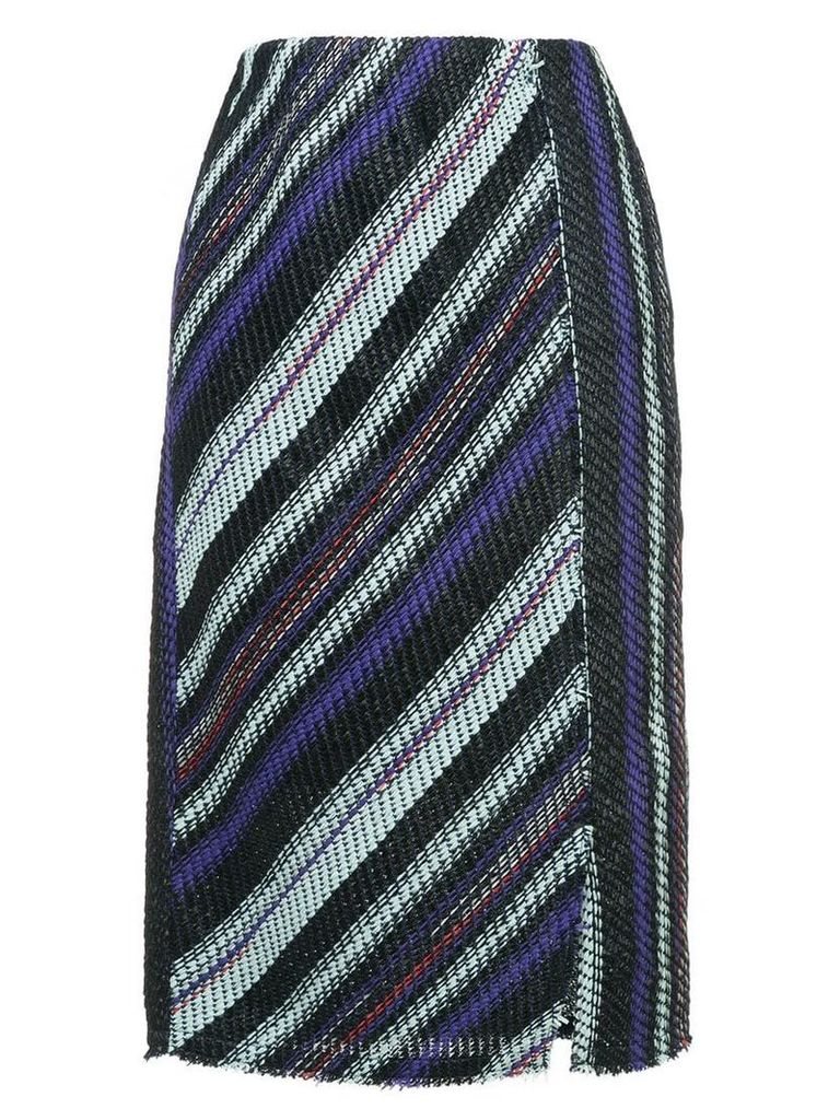 COOHEM striped tweed pencil skirt - Blue
