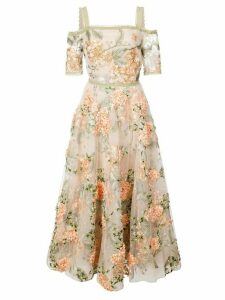 Marchesa Notte floral-embroidered off-the-shoulder dress - Neutrals