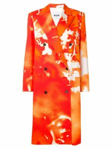 MSGM abstract print double breasted coat - Orange