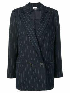 GANNI pinstripe double breasted blazer - Blue