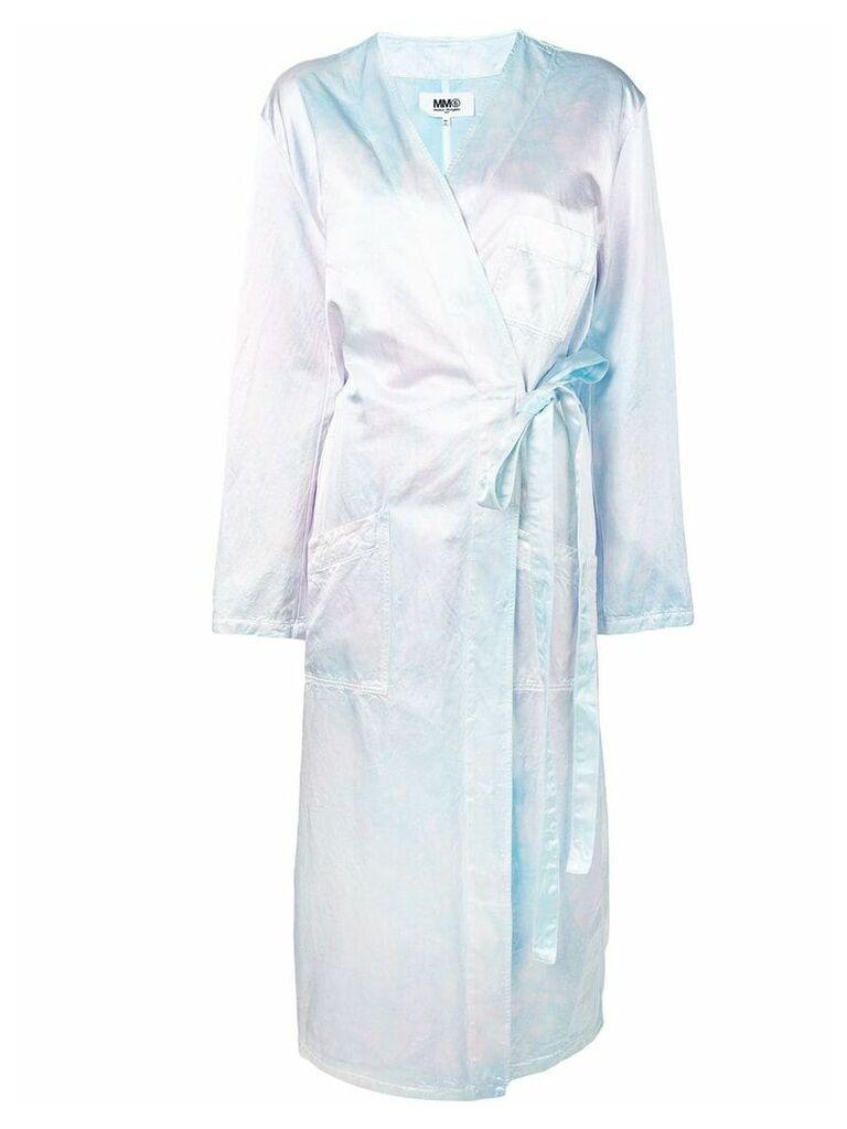 Mm6 Maison Margiela iridescent wrap overcoat - Blue