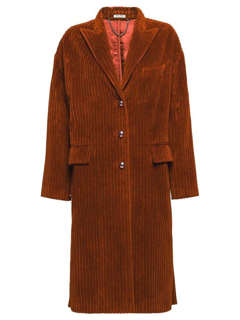 Miu Miu velour corduroy coat - Brown
