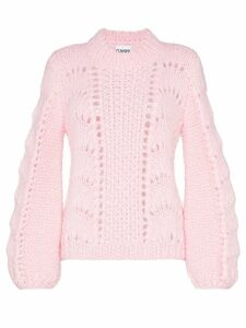 Ganni Julliard open-knit mohair and wool jumper - Pink