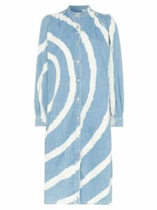Ganni Acadia bleached-spiral dress - Blue