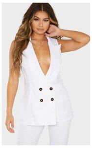White Button Detail Longline Waistcoat, White
