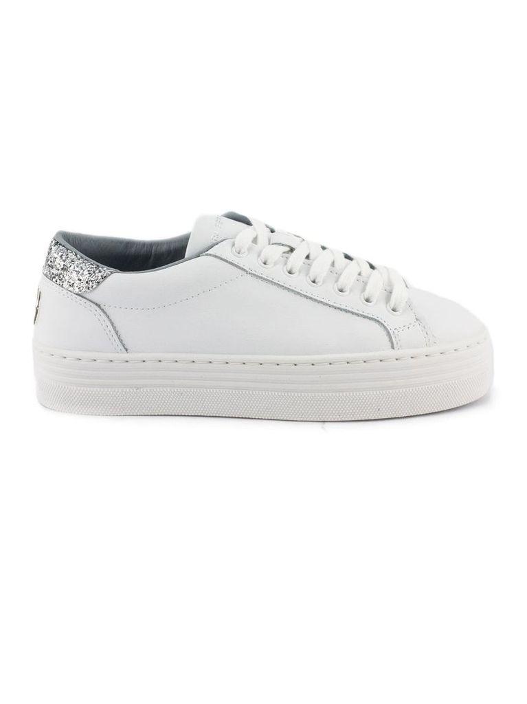 Chiara Ferragni White Leather Laced Sneakers