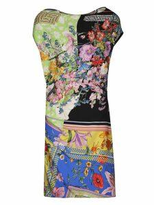 Versace Paneled Floral Print Dress