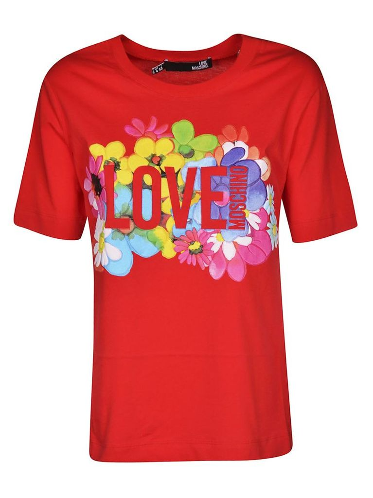 Love Moschino Floral Logo Print T-shirt