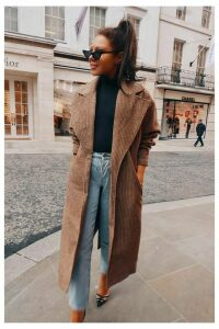 Brown Coats - Lorna Luxe 'Borrowed His' Check Tailored Brown Coat