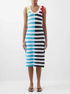 Muzungu Sisters - Lotus Floral Embroidered Cotton Blend Kaftan - Womens - Blue Multi