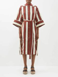 Three Graces London - Mabel Ruffled Linen Midi Dress - Womens - Navy
