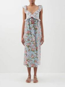 Belize - Mallory Ruffle Trimmed Cotton Top - Womens - Brown