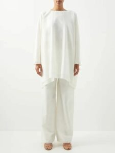 Emilia Wickstead - Claretta Italy Print Pleated Linen Dress - Womens - Pink Print