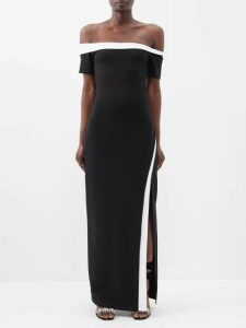 Khaite - Delphine Smocked Bodice Cotton Midi Dress - Womens - Black