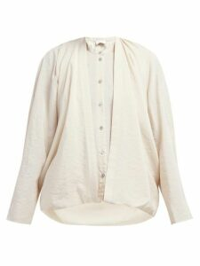 Lemaire - Double Layer Draped Front Silk Blend Blouse - Womens - Beige