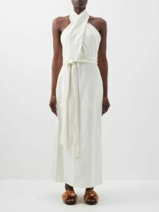 Comme Des Garçons Girl - Gingham Drawsting Waist Cotton Midi Skirt - Womens - Navy White