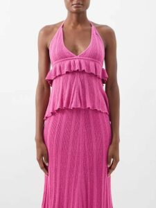 Junya Watanabe - Herringbone Stripe Wool Blend Skirt - Womens - Navy