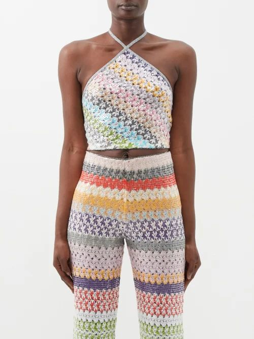 Altuzarra - Cicero Gingham Silk Crepe De Chine Pencil Skirt - Womens - Blue Multi
