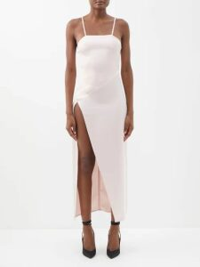 Marine Serre - Djellaba Silk Satin Hooded Dress - Womens - Beige Multi