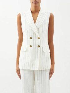Rebecca De Ravenel - Apple Print Gingham Silk Dress - Womens - Blue Multi