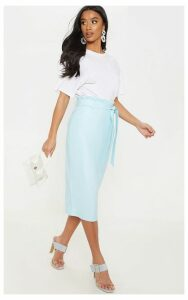 Petite  Dusty Blue PU Tie Belt Midi Skirt, Blue