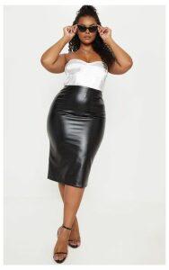 Plus Black PU Snake Print Midi Skirt, Black