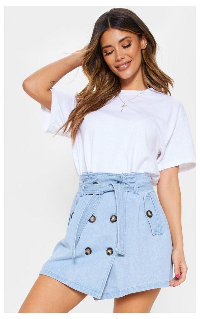 Light Wash Denim Trench Skirt, Light Blue Wash