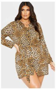 Plus Brown Leopard Print Tie Waist Shirt Dress, Brown