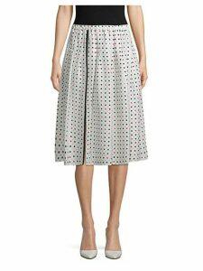 Pleated Polka-Dot Flare Skirt