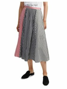 Carolie Striped Colorblock Pleated Midi Skirt