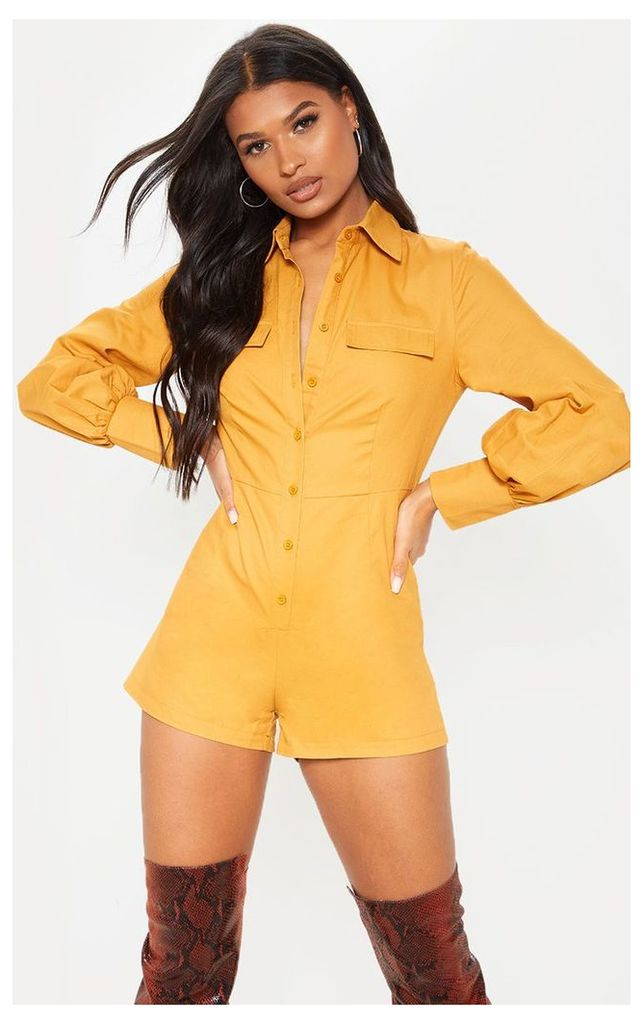 Camel Button Up Shirt Detail Long Sleeve Playsuit, Camel