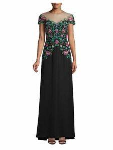 Illusion-Neck Floral Gown