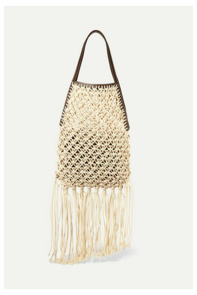 JW Anderson - Leather-trimmed Fringed Macramé Tote - Neutral