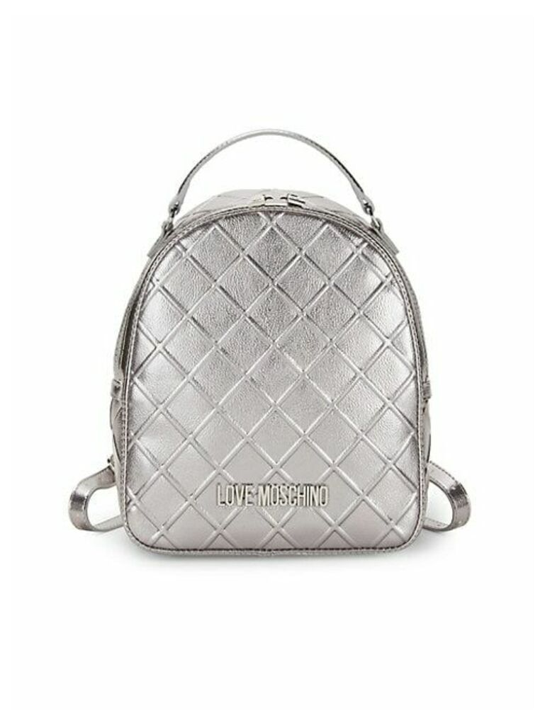 Embossed Metallic Faux Leather Backpack
