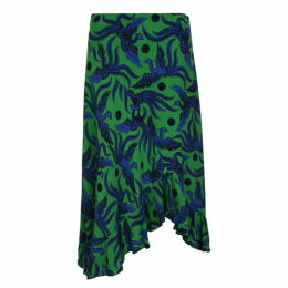 KENZO Flying Phoenix Silk Skirt