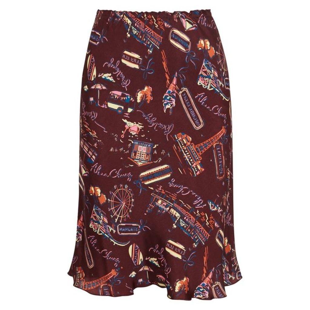 ALEXACHUNG Printed Bias-cut Satin Skirt