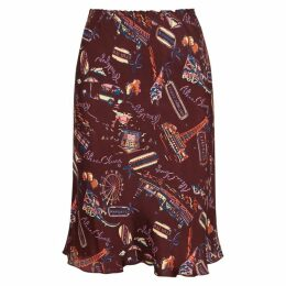 ALEXACHUNG Printed Bias-cut Satin Skirt