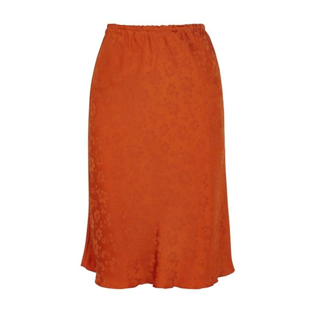 ALEXACHUNG Floral-jacquard Bias-cut Satin Skirt